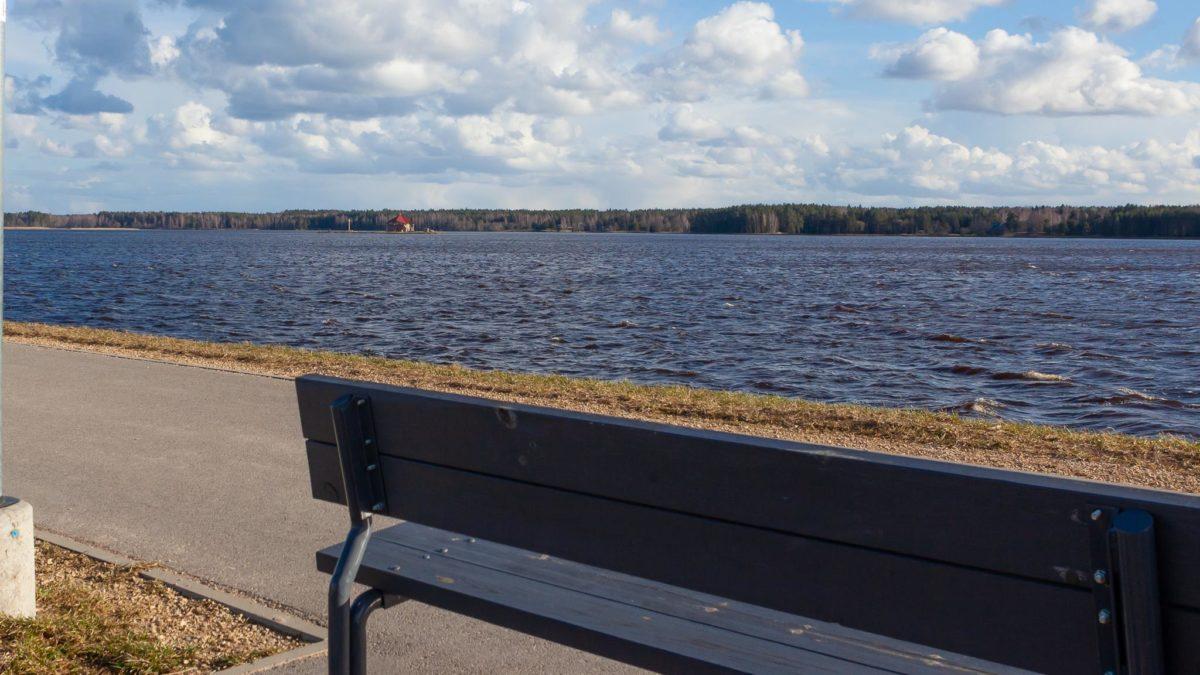 Soliņš uz Daugavas aizsargdambja ar skatu uz Sv.Meinarda salu.